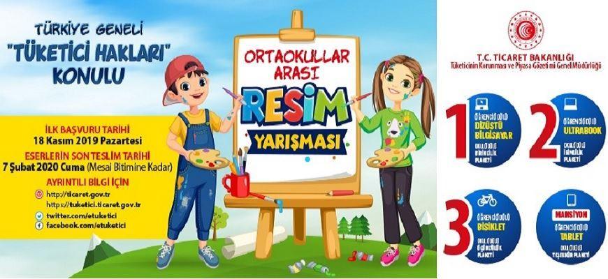 """Türkiye Geneli """"TÜKETİCİ HAKLARI"""" Konulu Ortaokullar Arası Resim Yarışması"""